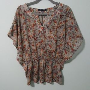 Forever21 Sheer Boho Top grey floral print Small P
